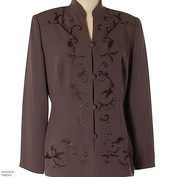 b6e9f82983746 Donna Morgan Jackets & Coats | Brown Beaded Accents Blazer Size 12 ...